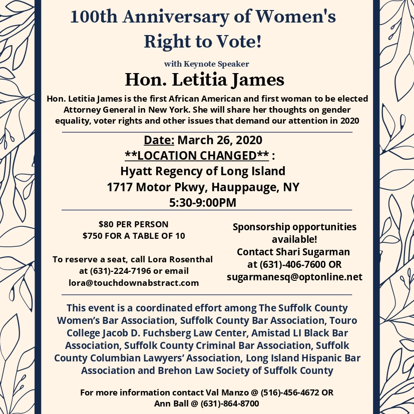 100th Anniversary of Women's Right to Vote! @ Hyatt Regency of Long Island