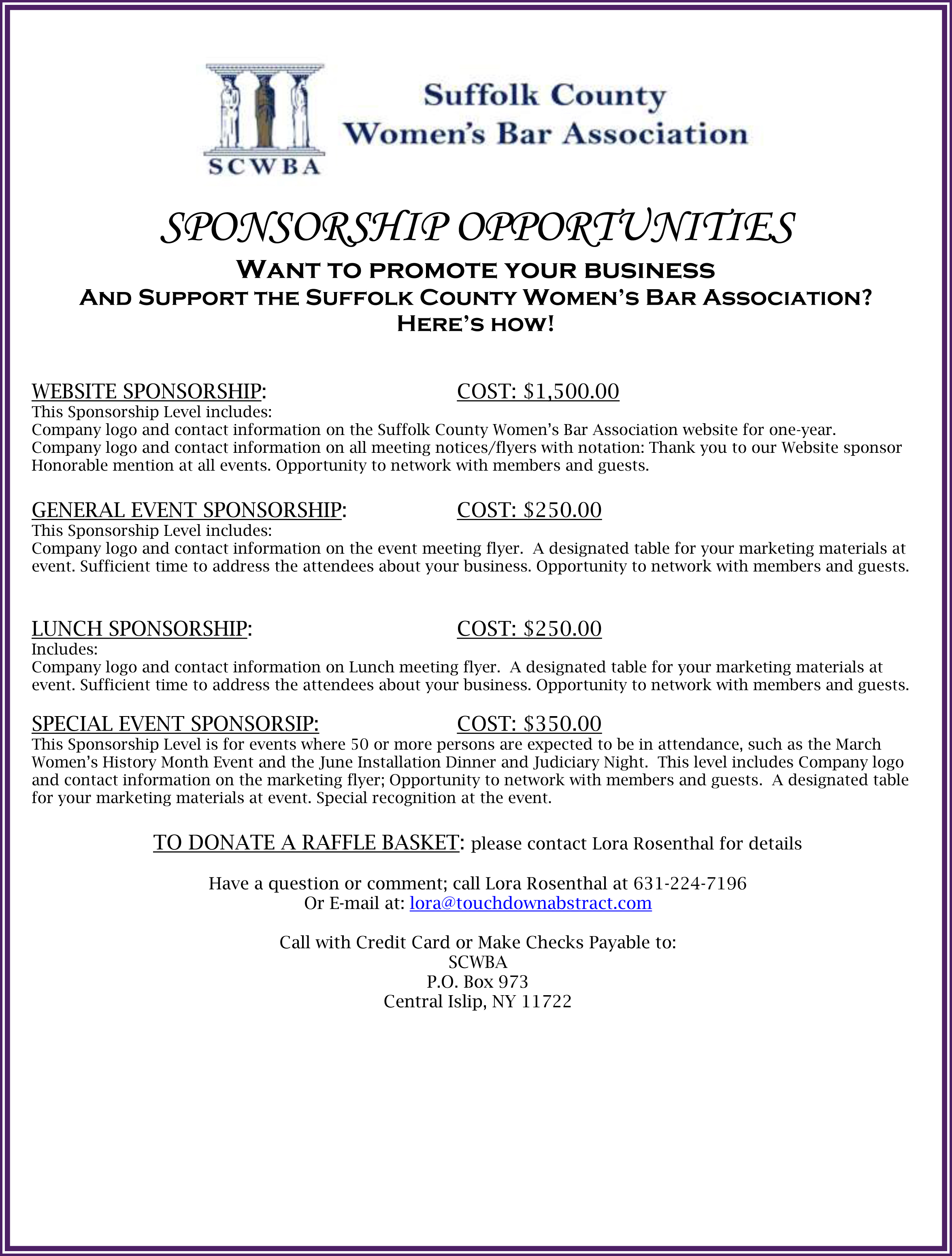 Want to promote your business And Support the Suffolk County Women's Bar Association? Here's how!